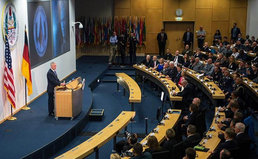 US Defense Secretary Jim Mattis discusses the partnership between the U.S. and Germany during an event at the George C. Marshall European Center for Security Studies in Garmisch, Germany, June 28, 2017. DoD photo by Air Force Staff Sgt. Jette Carr
