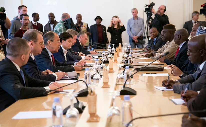 Russia's Foreign Minister Sergey Lavrov meets with Nigeria's Foreign Minister Geoffrey Onyeama in Moscow, Russia. Photo Credit: Russian Foreign Ministry.