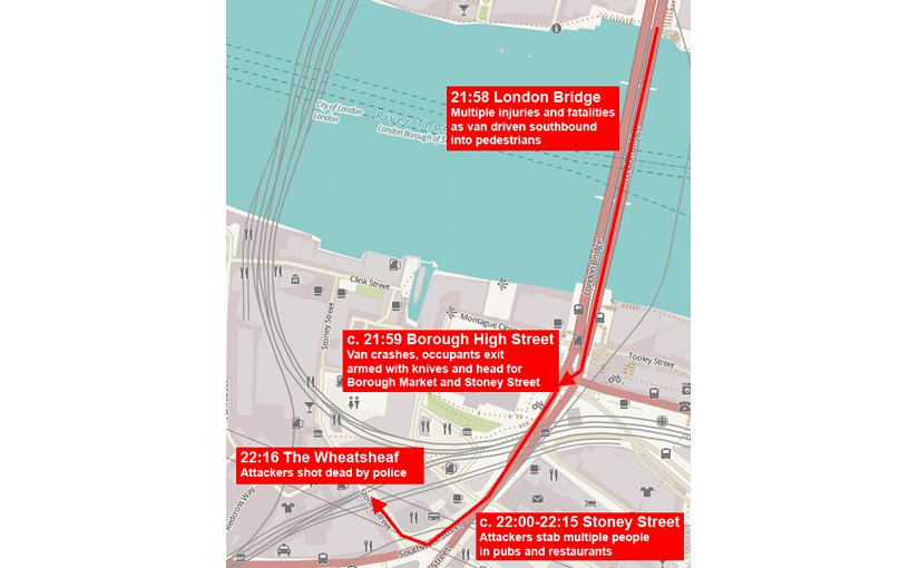 London Bridge attack map. Source: OpenStreetMap contributors, Wikipedia Commons.