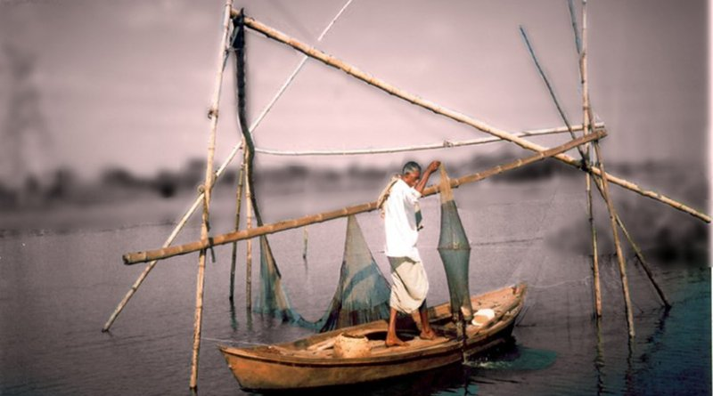 A man fishing in Bangladesh.