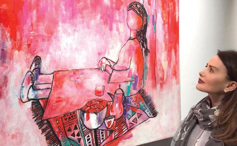 Saudi artist Ola Hejazi displays her painting of a girl making Dua'a (supplication) to Allah. Photo credit: Arab News.