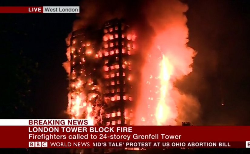 A massive fire has engulfed a residential high-rise building in London