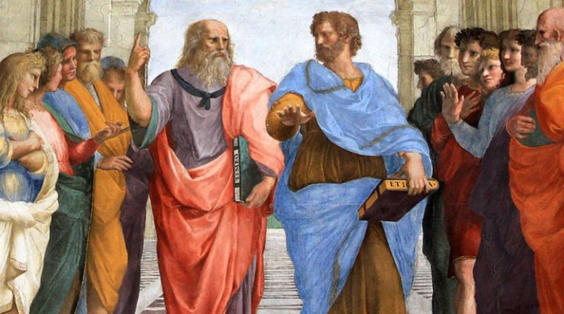 Plato and Aristotle walking and disputing. Detail from Raphael's The School of Athens (1509-1511). Source: WIkimedia Commons.