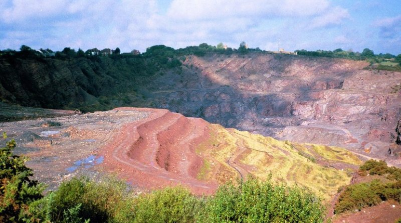 Judkin's Quarry, Nuneaton, representing an example of Worked Ground that was active from the 1840s to the 1980s. Credit Colin Waters / University of Leicester