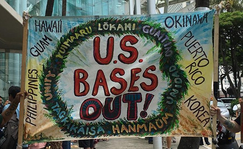 Protest against US military bases. Photo credit: Popular Resistance.