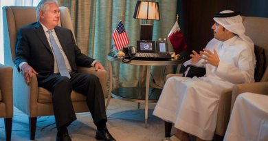U.S. Secretary of State Rex Tillerson meets with the Qatari Minister of Foreign Affairs Sheikh Mohammed bin Abdulrahman Al Thani in Doha, Qatar on July 11, 2017. [State Department photo/ Public Domain]