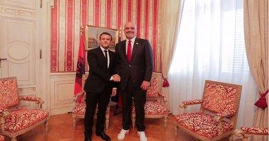 Albanian PM Edi Rama with French President, Emmanuel Macron on July 12. Photo: Rama's Facebook page