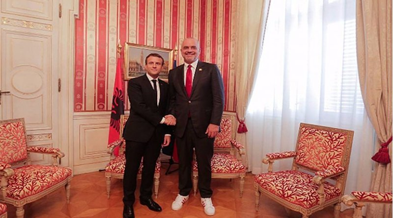 Albanian PM Edi Rama with French President, Emmanuel Macron on July 12. Photo: Rama's Facebook page