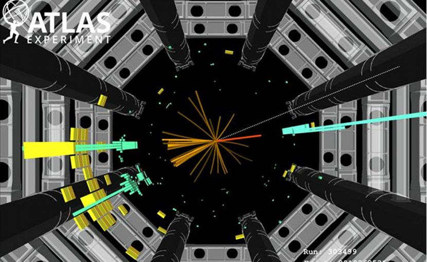 he illustration shows an event that could be the sought-after decay of the Higgs particle in quarks. Credit Illustration: ATLAS collaboration