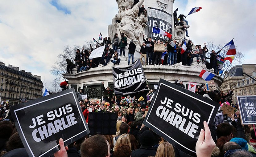 Paris rally in support of the victims of the 2015 Charlie Hebdo shooting, 11 January 2015. Place de la Republique. Photo by Olivier Ortelpa, Wikimedia Commons.