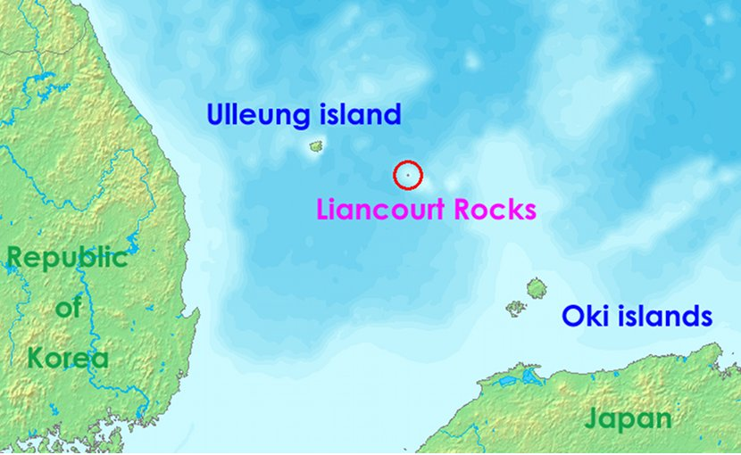 Liancourt rocks, in Japan called Takeshima and in North and South Korea called Dokdo (Tokto). Source: Wikipedia Commons.
