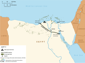 Figure 5. Map of Suez Canal/SUMED pipeline  Source: U.S. Energy Information Administration, IHS EDIN.