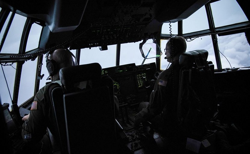 Air Force Maj. Kendall Dunn and Lt. Col. Ivan Deroche fly a WC-130J Super Hercules aircraft into Hurricane Harvey during a mission out of Keesler Air Force Base, Miss., Aug. 24, 2017. Air Force photo by Staff Sgt. Heather Heiney
