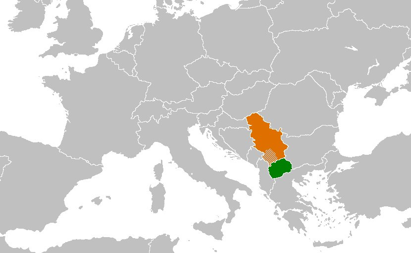 Locations of Macedonia (green) and Serbia (orange): Source: Wikipedia Commons.