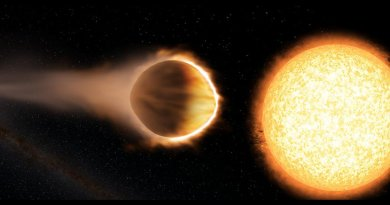 """Researchers have found that a """"hot Jupiter"""" exoplanet named WASP-121b (left) has a stratosphere hot enough to boil iron. The planet is as close to its host star (right) as possible without the star's gravity ripping the planet apart. Credit Engine House VFX, At-Bristol Science Centre, University of Exeter"""
