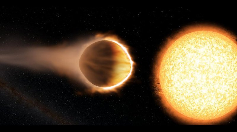 "Researchers have found that a ""hot Jupiter"" exoplanet named WASP-121b (left) has a stratosphere hot enough to boil iron. The planet is as close to its host star (right) as possible without the star's gravity ripping the planet apart. Credit Engine House VFX, At-Bristol Science Centre, University of Exeter"