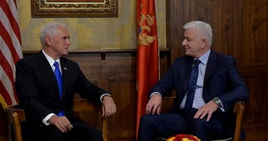 Montenegro's Prime Minister Duško Marković with US Vice President Mike Pence. Photo Credit: Montenegro Government.