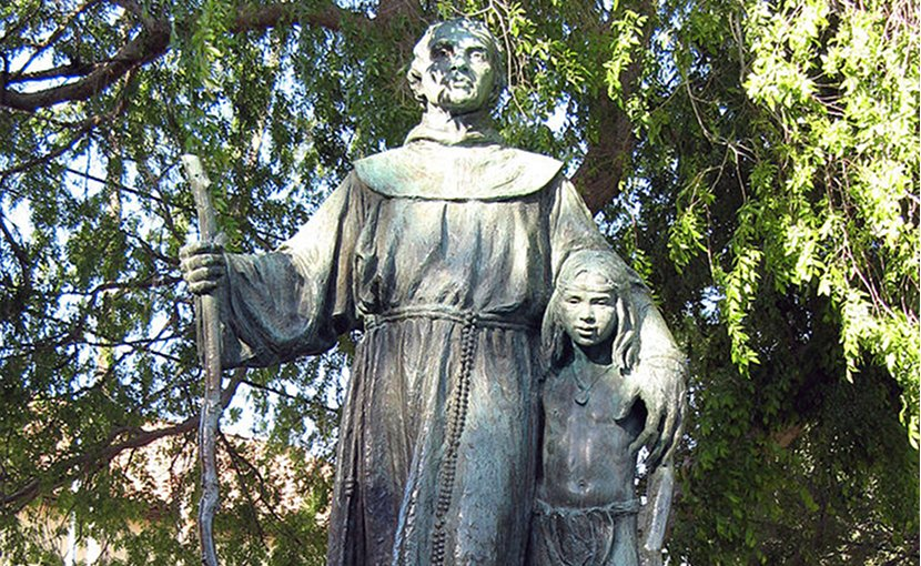 Statue of St. Junípero Serra in the Memory Garden of Brand Park, Los Angeles, California. Photo by Geographer, Wikipedia Commons.