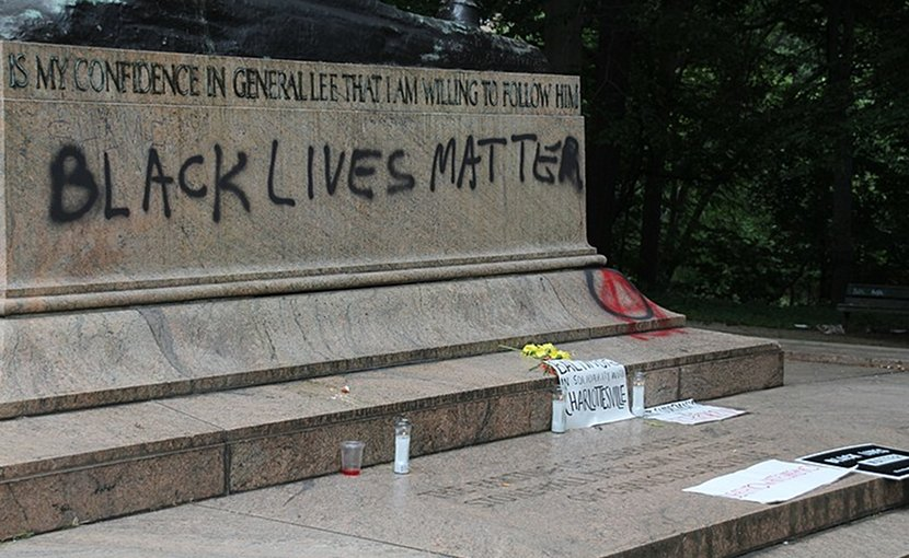 "Vandalism, asserting that ""Black Lives Matter"", on the base of the Stonewall Jackson and Robert E. Lee Monument, Baltimore. The statue was removed in August 2017. Photo by Ryan Patterson, Wikipedia Commons."