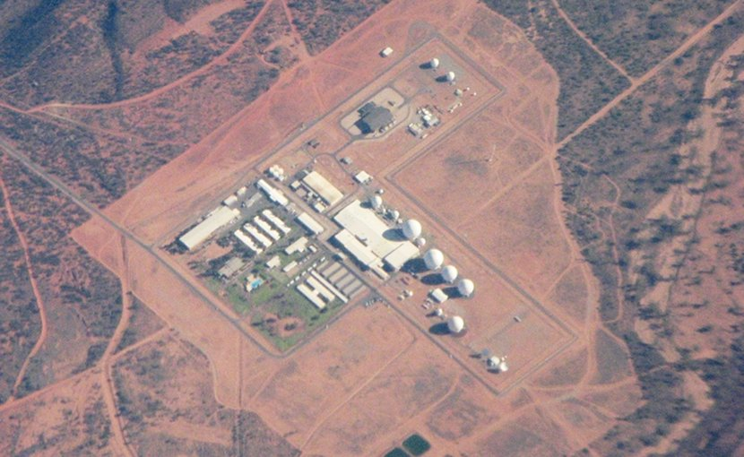 The joint Australia/USA communications facility at Pine Gap near Alice Springs in Central Australia. Photo by Skyring, Wikipedia Commons.