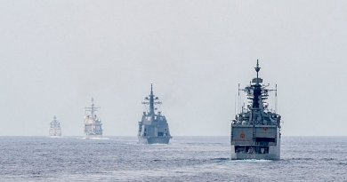 Ships from the Indian navy, Japan Maritime Self Defense Force and U.S. Navy get into formation for a gunnery live-fire exercise as part of Exercise Malabar. U.S. Navy photo by Mass Communication Specialist 2nd Class Joe Bishop.