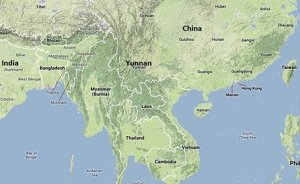 Map showing China's Yunnan and India's northeast, For representational purposes only