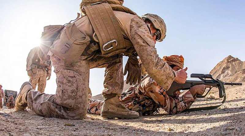 Omani soldiers and US Marines exercising. Photo Credit: U.S. Marine Corps photo by Gunnery Sgt. Robert B. Brown Jr., Wikipedia Commons.