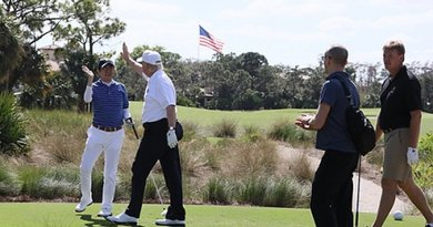 Japan's Prime Minister Shinzo Abe plays golf in Palm Beach, Florida with US President Donald J. Trump. Photo Credit: Japan Prime Minister Office.