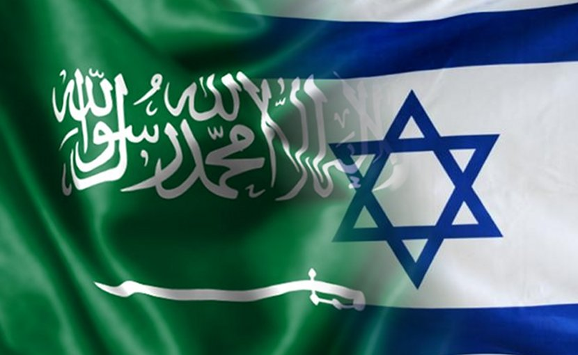 Flags of Saudi Arabia and Israel.