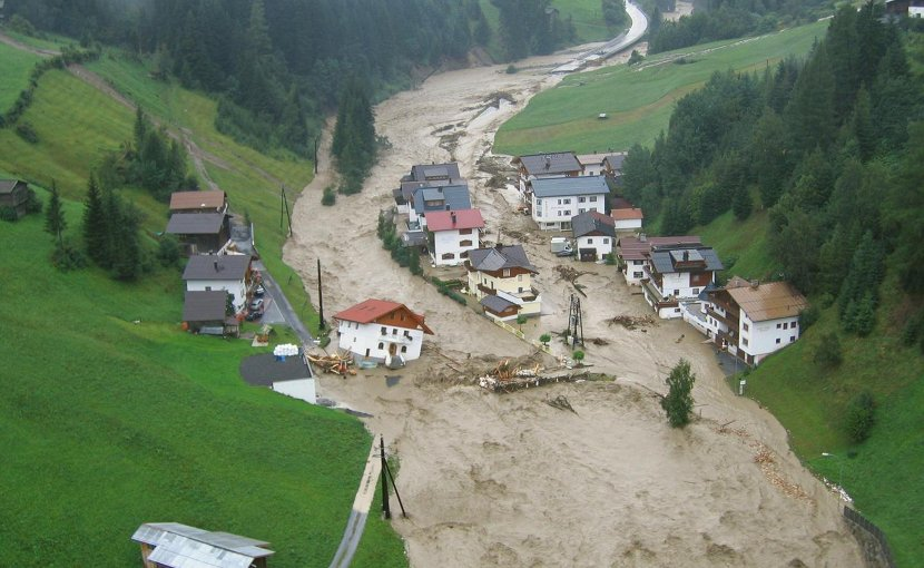 Flooding in August 2005 in Kappl-Nederle (Paznaun Valley, Tyrol). Credit TU Wien/ASI/Land Tirol/BH Landeck