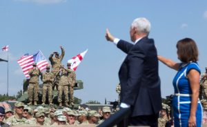 US VP Mike Pence greets troops in Georgia. Photo Credit: White House