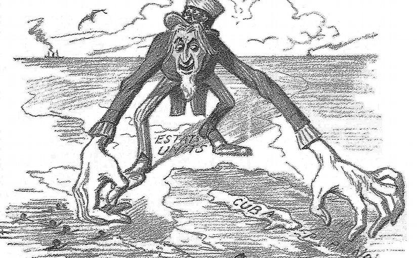 A Spanish satirical drawing published in La Campana de Gràcia (1896) criticizing U.S. behavior regarding Cuba by Manuel Moliné, just prior to the Spanish-American War. Credit: Wikipedia Commons.