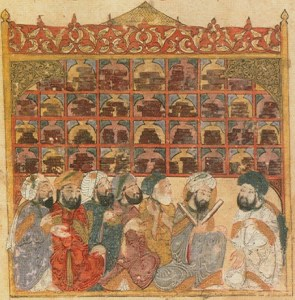 13th century illustration depicting a public library in Baghdad, from the Maqamat Hariri. Bibliotheque Nationale de France, Wikipedia Commons.