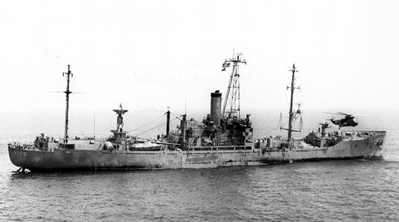 USS Liberty (AGTR-5) receives assistance from units of the Sixth Fleet, after she was attacked and seriously damaged by Israeli forces off the Sinai Peninsula on 8 June 1967. Official U.S. Navy Photograph, Wikipedia Commons.