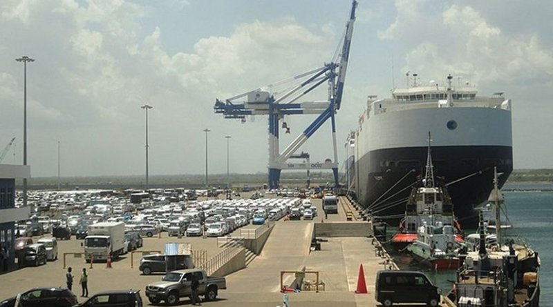 Sri Lanka's Hambantota Port. Photo by Dinesh De Alwis, Wikimedia Commons.
