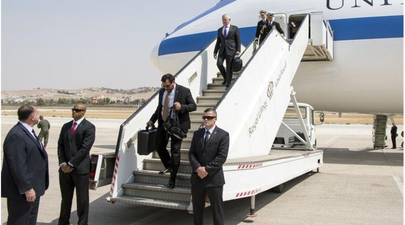 Defense Secretary Jim Mattis arrives in Amman, Jordan, on the first leg of an overseas trip to reaffirm the U.S. commitment to strategic partnerships in the Middle East and Europe, Aug. 20, 2017. DoD photo by Air Force Staff Sgt. Jette Carr