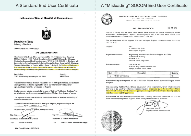 """The Iraqi end user certificate on the left clearly states the ammunition's final destination. The SOCOM document on the right leaves the end user open and has been described as """"misleading"""" by Amnesty International."""