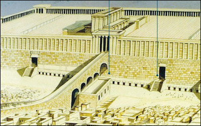 n artist's reconstruction shows where today's Western Wall (the area between the two dark vertical lines) lies in relation to the temple complex of antiquity. For centuries, it was the upper portion, the Temple Mount, where Jews made their pilgrimages and prayers, even when it lay in ruins.