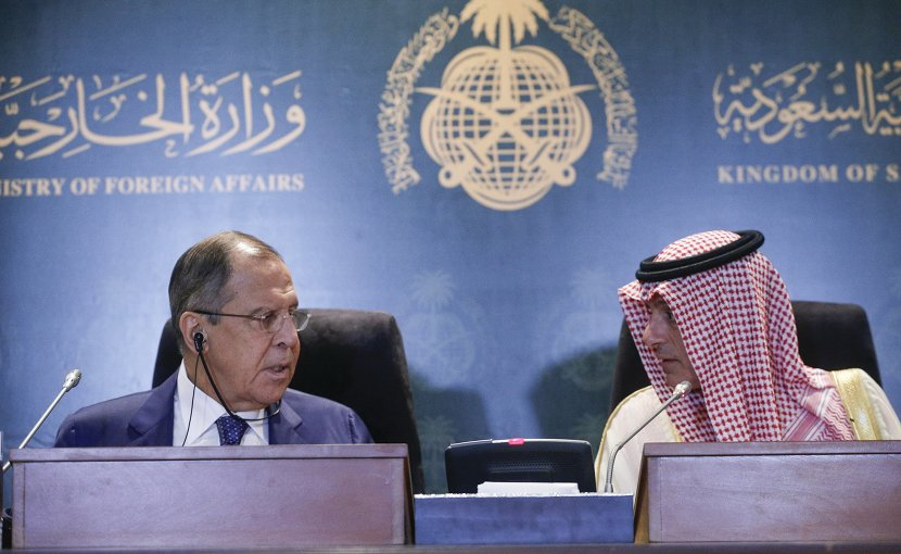 Russia's Foreign Minister Sergey Lavrov's with Foreign Minister of the Kingdom of Saudi Arabia Adel Al-Jubeir. Photo Credit: Russia Foreign Ministry.