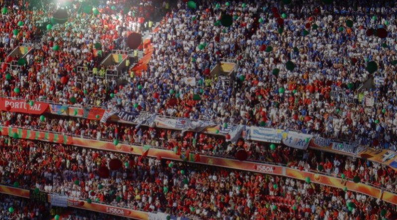 Sports fans in a stadium.