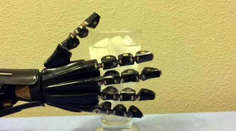 Researchers from the University of Houston have reported a breakthrough in stretchable electronics that can serve as an artificial skin, allowing a robotic hand to sense the difference between hot and cold. Credit University of Houston