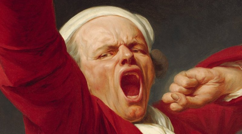 "Detail of ""Self-Portrait, Yawning"" by Joseph Ducreux"