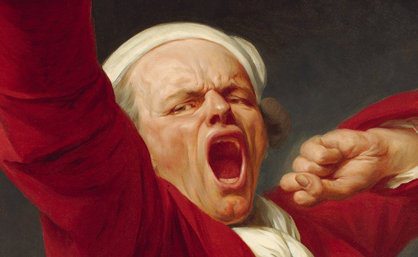 """Detail of """"Self-Portrait, Yawning"""" by Joseph Ducreux"""