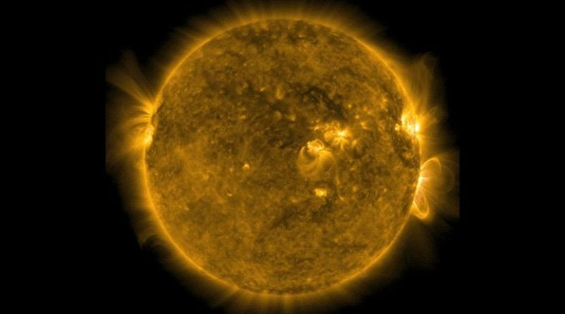 NASA's Solar Dynamics Observatory captured this image of a solar flare -- as seen in the bright flash on the right side -- on Sept. 10, 2017. Credit NASA/SDO/Goddard