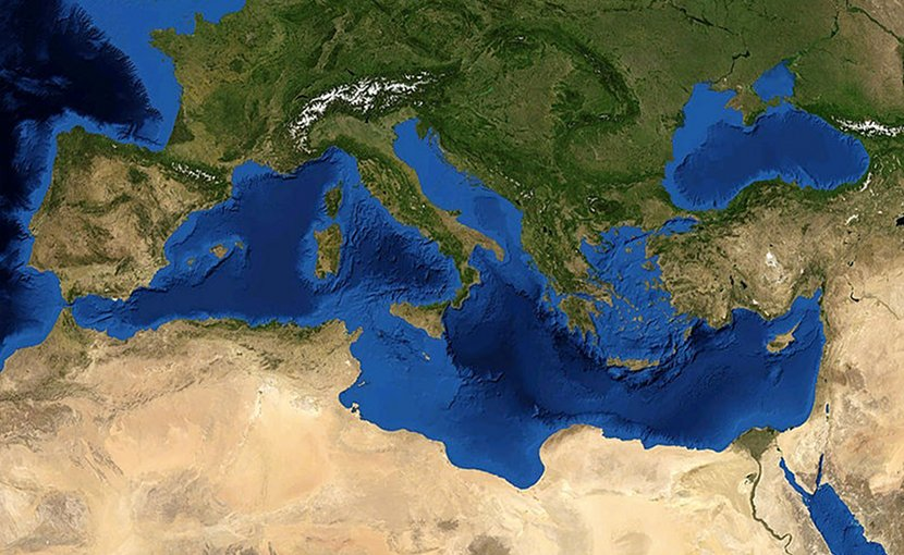 Satellite image of the Mediterranean Sea. Photo Credit: NASA, Wikimedia Commons.