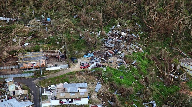 Thousands of homes in Puerto Rico suffered varying degrees of damage while large swaths of vegetation were shredded by the hurricane's violent winds. U.S. Customs and Border Protection photo by Kris Grogan, Wikipedia Commons.