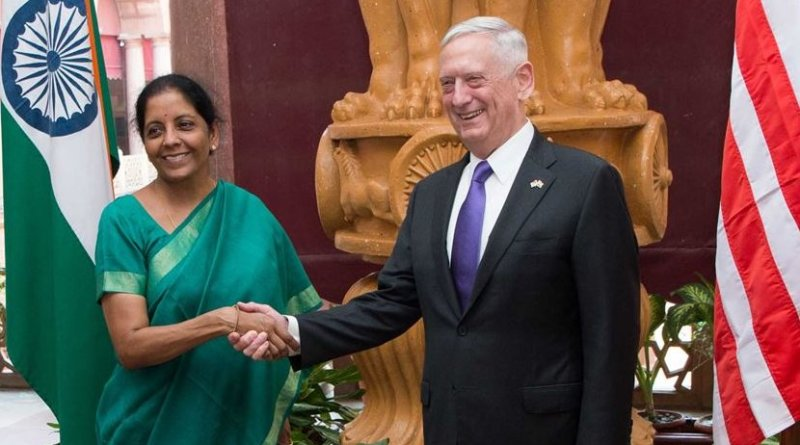 Defense Secretary Jim Mattis shakes hands with Indian Defense Minister Nirmala Sitharaman in New Delhi, Sept. 26, 2017. DoD photo by Air Force Staff Sgt. Jette Carr