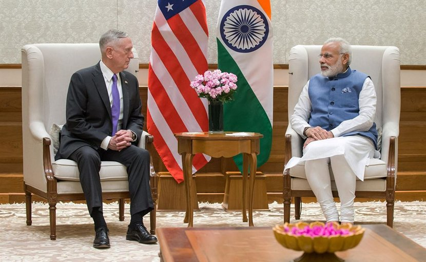 Defense Secretary Jim Mattis meets with Indian Prime Minister Narendra Modi in New Delhi, Sept. 26, 2017. DoD photo by Air Force Staff Sgt. Jette Carr
