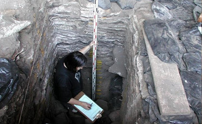 This is Marlize Lombard (University of Johannesburg) excavating at Sibudu Cave (under the direction of Prof Lyn Wadley, University of the Witwatersrand), about 40 km southeast of Ballito Bay where the boy was found. The cave was intermittently occupied by humans from at least 77 000 years ago who might have been ancestral to the Ballito boy. Credit Photograph: Lyn Wadley, University of the Witwatersrand.