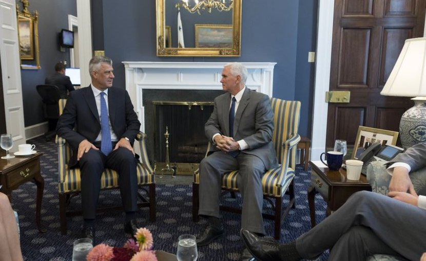 US Vice President Mike Pence meets with President of Kosovo Hashim Thaci at the White House. Photo Credit: White House.